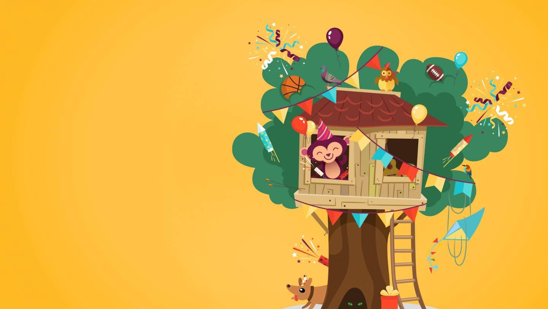 Illustratie van de AAP-mascotte feestend in zijn boomhut