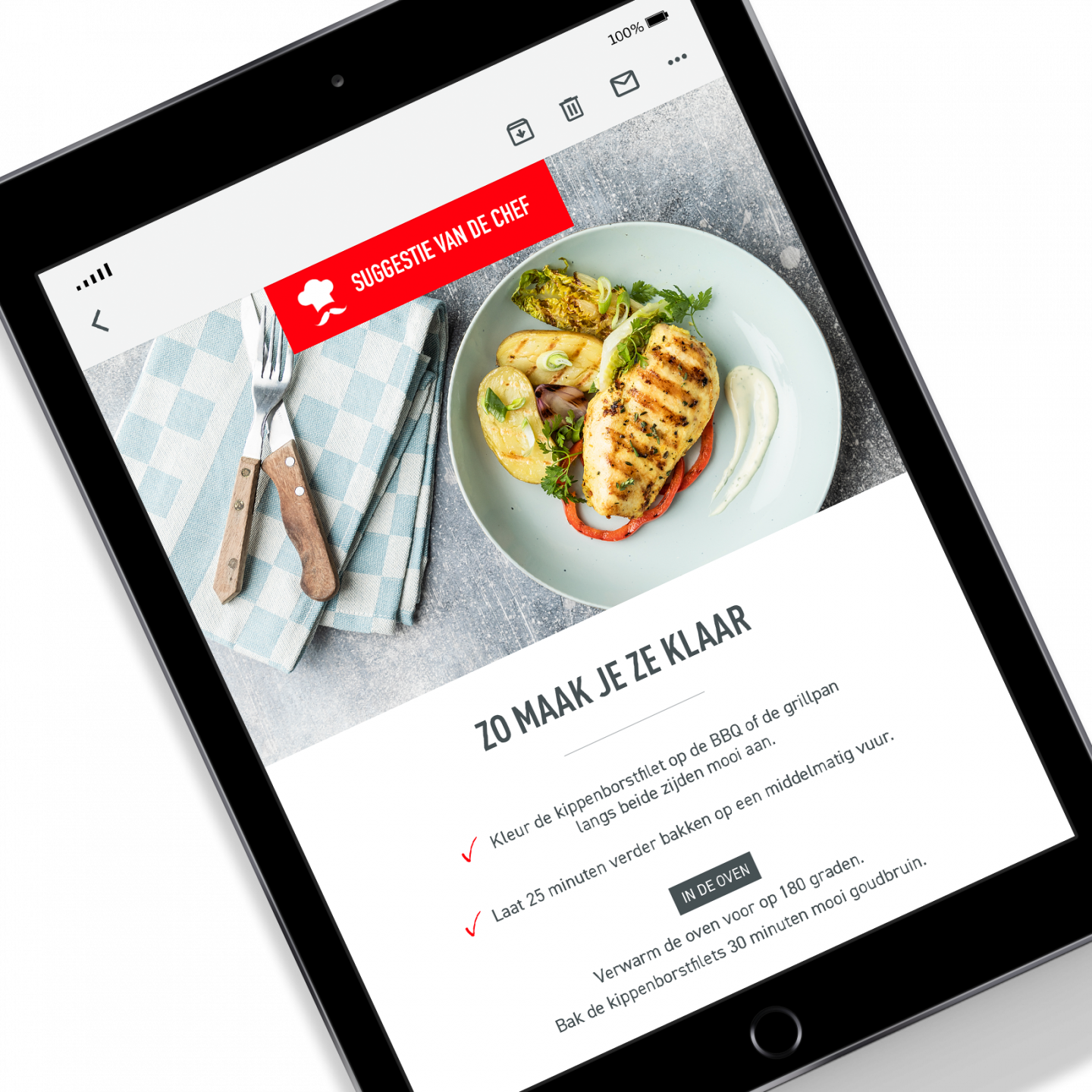 Suggestie van de chef mockup op een Apple iPad