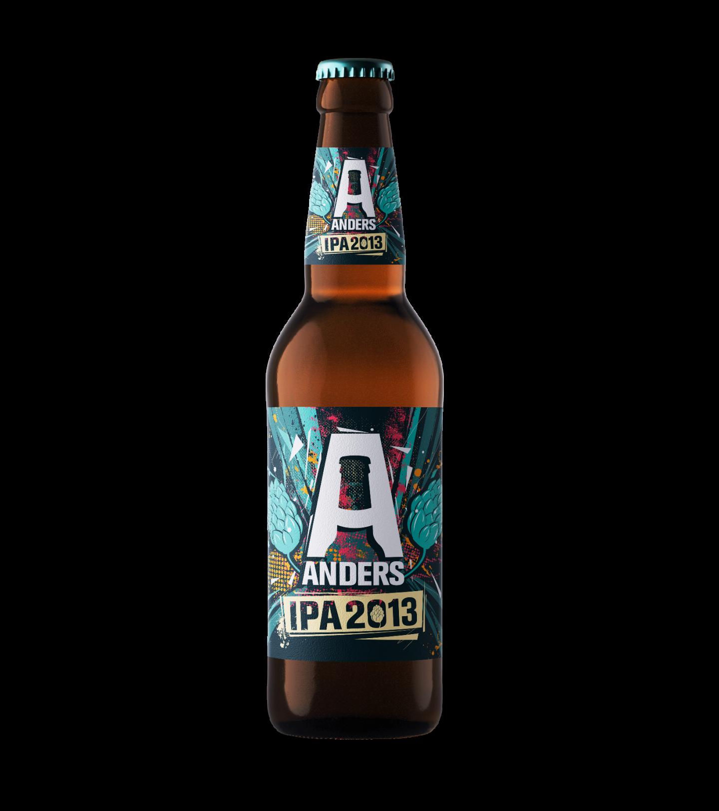 Mockup voorkant Bier Anders etiket op fles