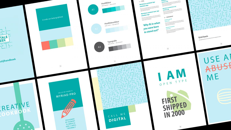 Mockup van verschillende pagina's uit het huisstijlhandboek voor de Digitale Week