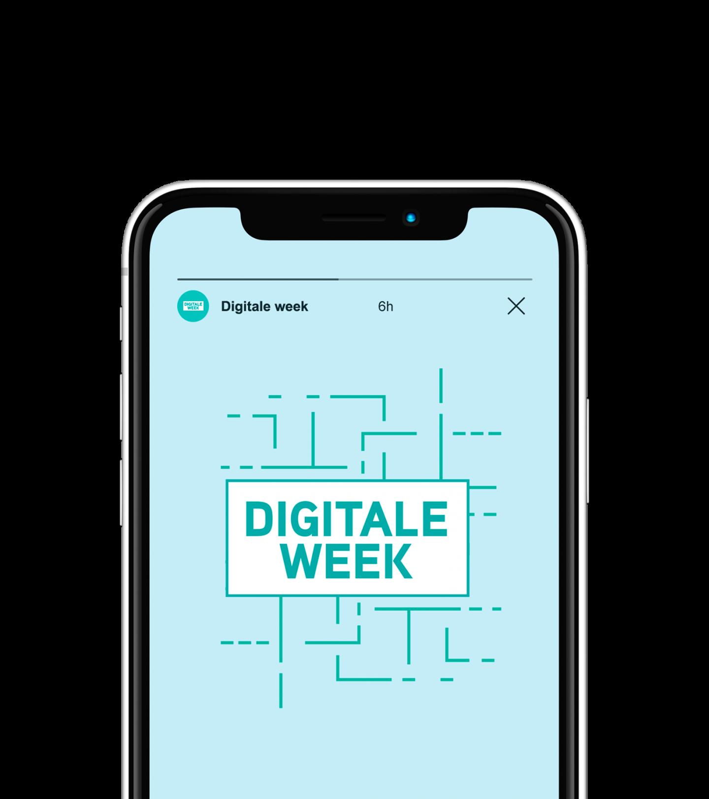 Mockup van een story up Instagram voor de Digitale Week