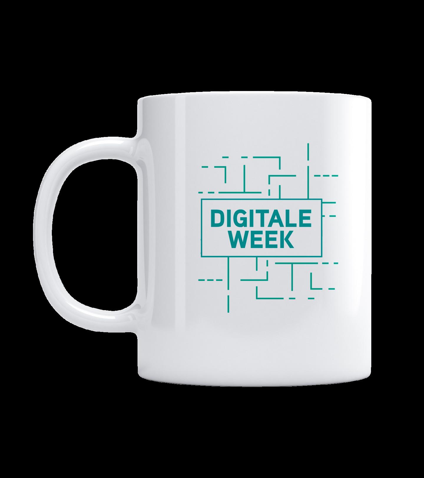 Afbeelding van een mok met het logo van Digitale Week