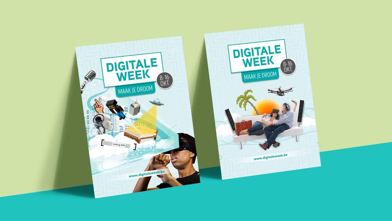 Mockup van twee campagneposters voor de Digitale Week