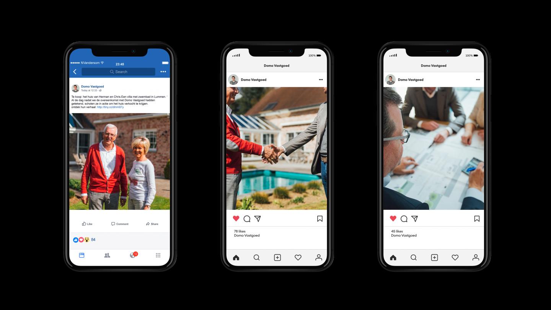 Drie iPhone mockups van DOMO op Instagram
