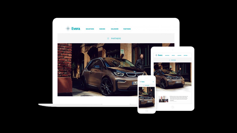 Mockups Evora website op MacBook, iPhone en iPad
