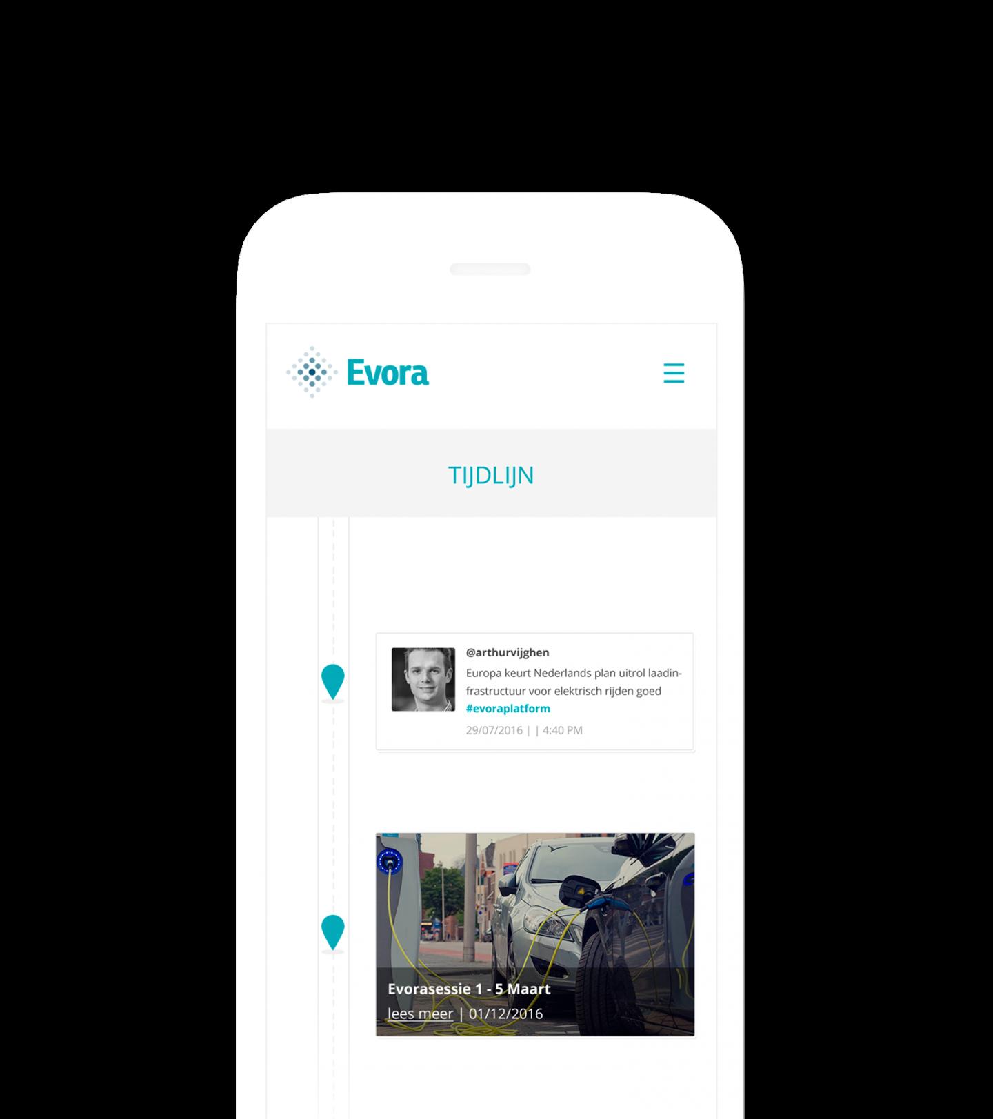 iPhone mockup Evora website