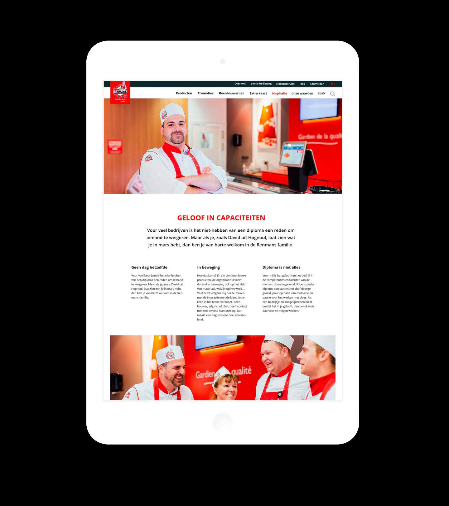 iPad mockup van een pagina op de Renmans website