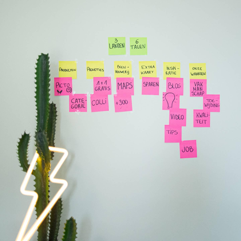 Foto van een brainstorm over de infastructuur van de Renmans website