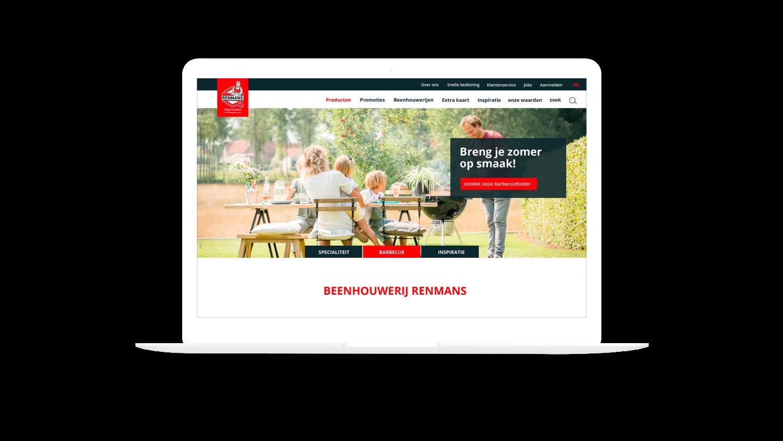 MacBook Pro mockup van de homepage op de Renmans website