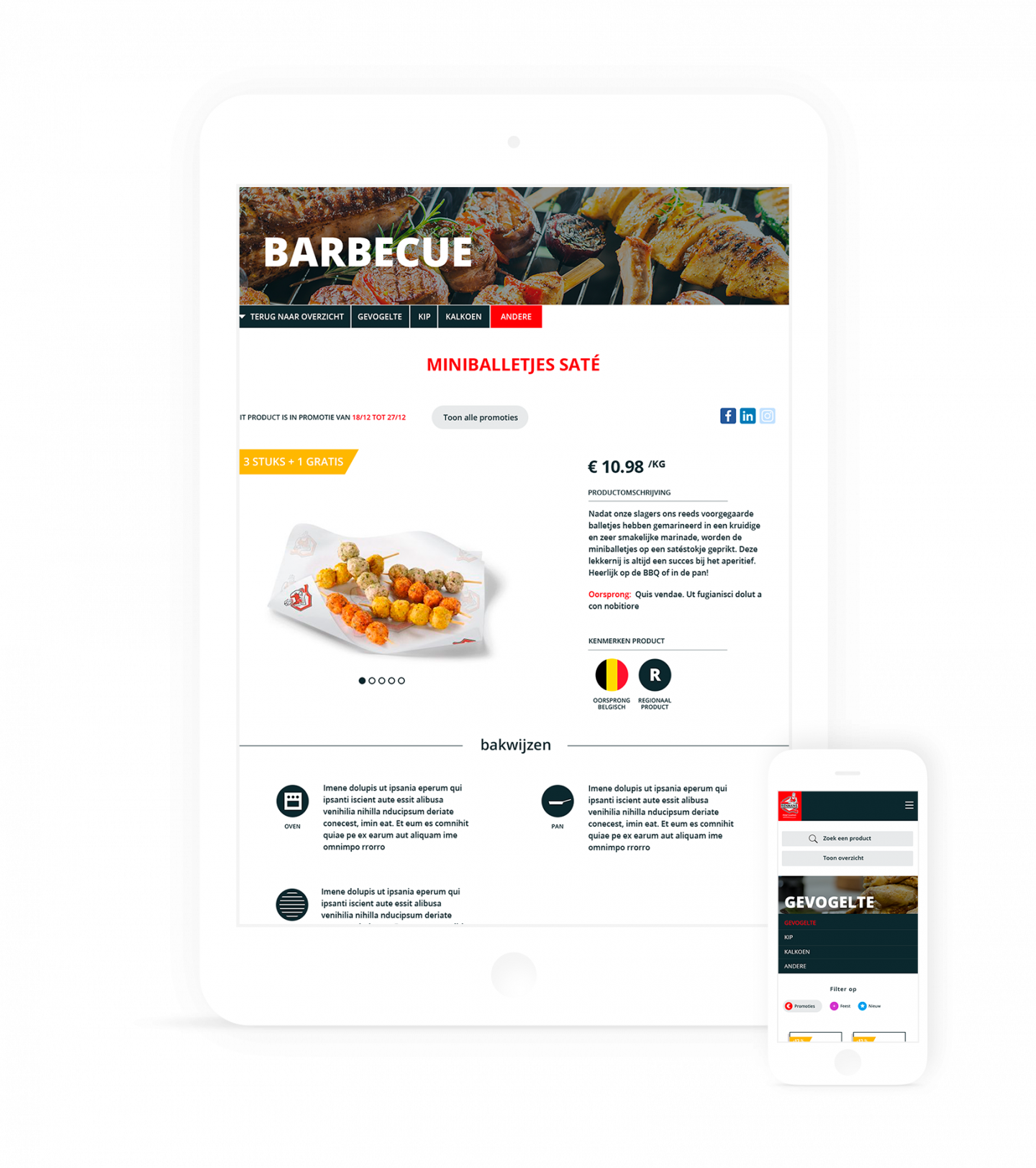 iPad en iPhone mockup van de productenpagina op de Renmans website