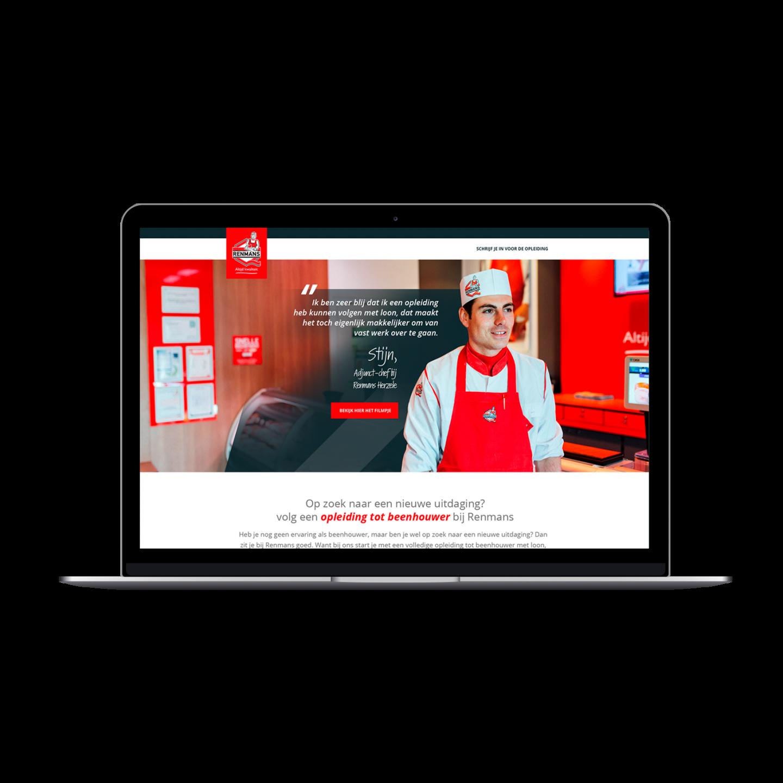 MacBook Pro mockup van de rekruteringspagina die we ontworpen voor Renmans