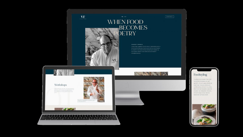 Mockup van de website voor Vincent Tibau