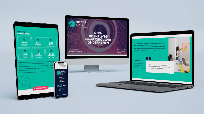 Mockup van de Circle Speed website op verschillende toestellen